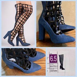 c9b5b3b67bf4 Shoes - Caged Denim   Black Over the Knee Heel Boot 6.5